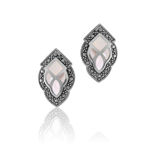 Silver Marcasite and Mother of Pearl stud Earrings