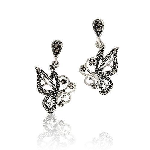Silver Marcasite Butterfly drop Earrings