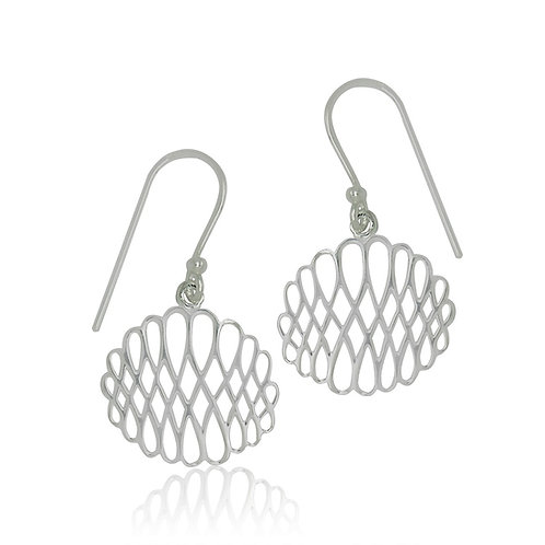 Sterling Silver Modern Design Drop Earring