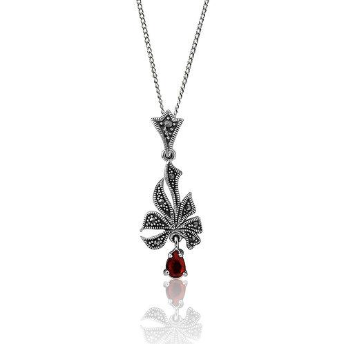 Silver Marcasite and Garnet Pendant
