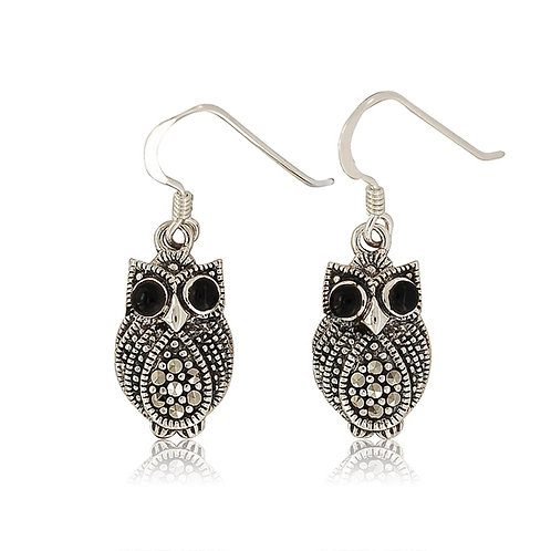 Silver Marcasite and Black Agate drop owl Earrings