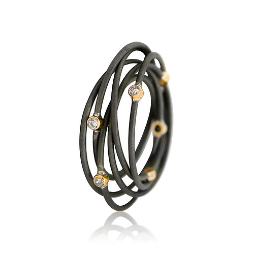 Handmade Designer Oxidised Steel with 9ct Gold and CZ Spiral Ring