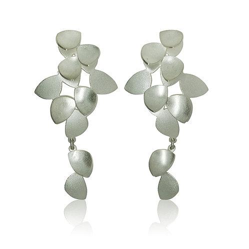Handmade Designer Sterling Silver Brushed Cluster Drop Earrings