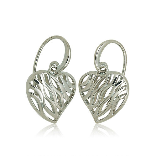 Sterling Silver Heart Shaped Drop Earrings