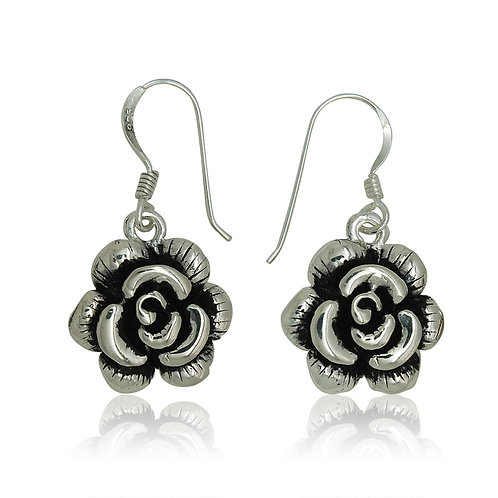 Sterling Silver Oxidised Rose Drop Earrings