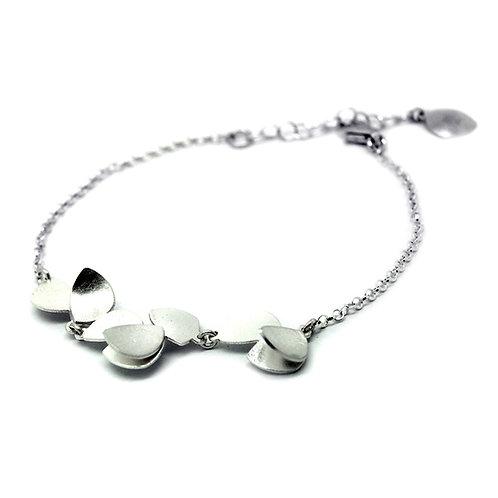 Handmade Designer Sterling Silver Brushed Petal Necklace
