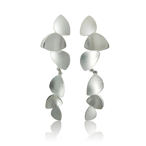 Handmade Designer Sterling Silver Cluster Petal Drop Earrings