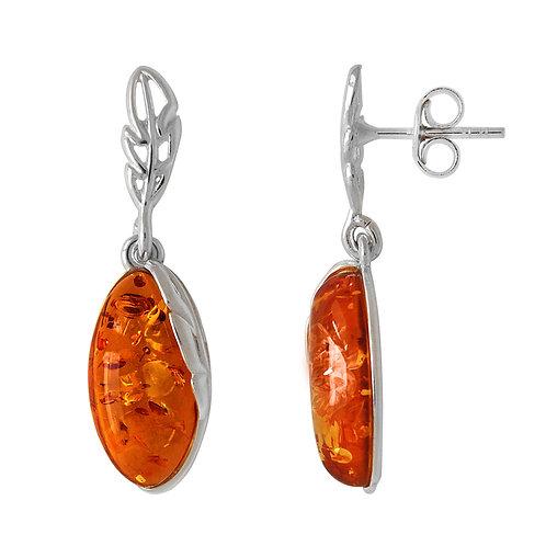 Sterling Silver Oval Amber Drop Earring