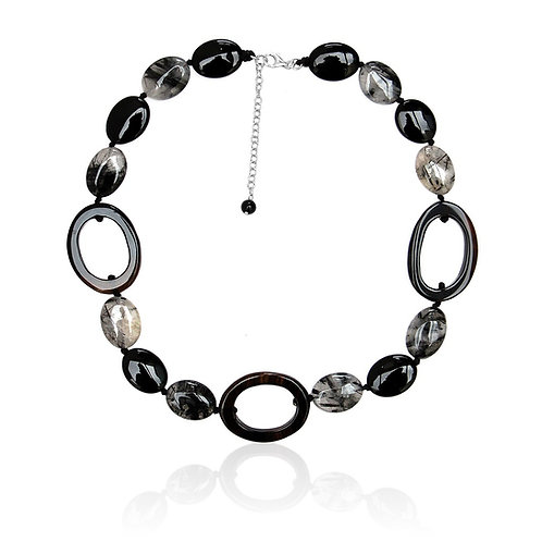 Boho Sterling Silver, Black and Grey Agate Necklace