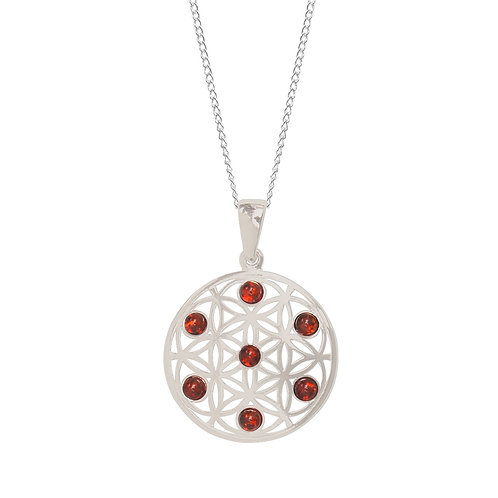 Sterling Silver and Amber Flower of Life Pendant