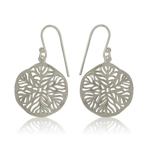 Sterling Silver Leaf Design Ajour Earrings