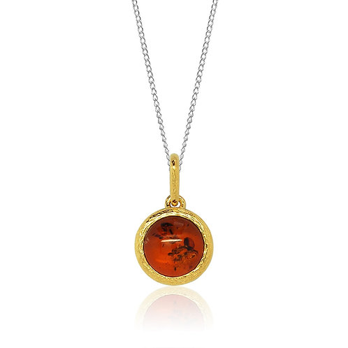 Sterling Silver Round Stone in Goldplated Pendant