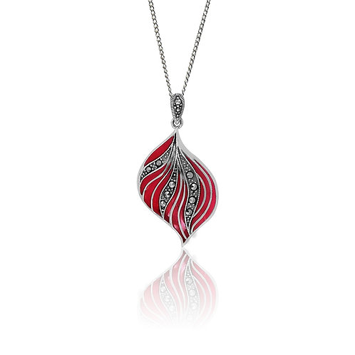 Silver Marcasite and Red Resin Leaf Pendant