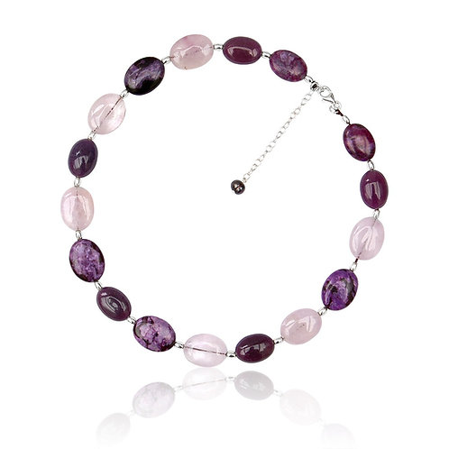 Boho Silver Amethyst, Fwp, Jade and Lepidolite Necklace
