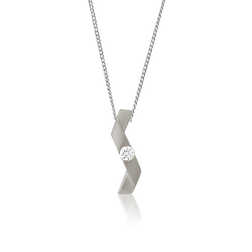 Sterling Silver Cubic Zirconia Twist Pendant