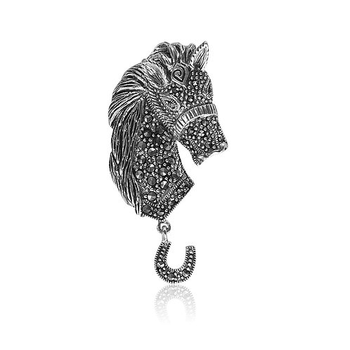 Silver Marcasite Horse Head Brooch