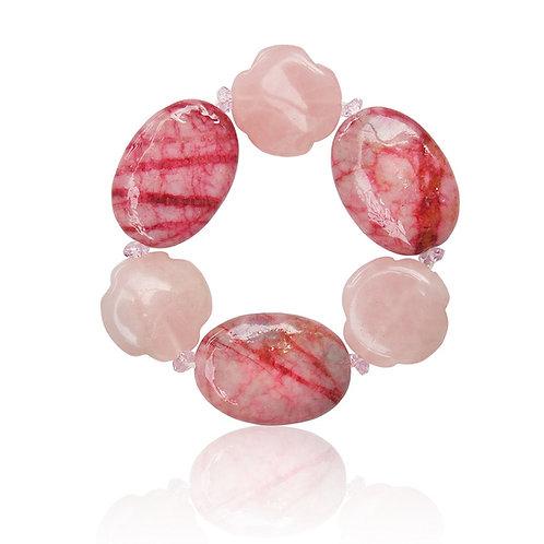Boho Crystal, Pink Agate and Rose Quartz Bracelet