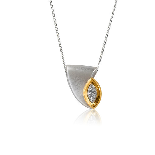 Sterling Silver and Goldplate with Marquise CZ Pendant