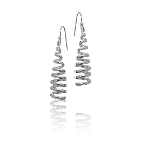Sterling Silver Spiral Cone Drop Earrings
