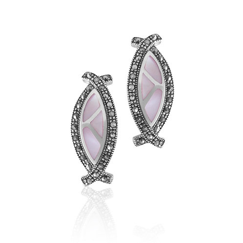 Silver Marcasite and Pink Mother of Pearl Earrings