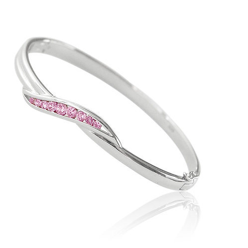 Sterling Silver with Pink Cubic Zirconia Bangle