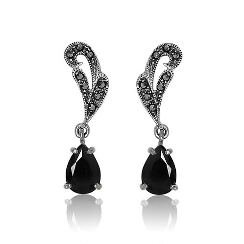 Silver Marcasite and Black Stone Earrings