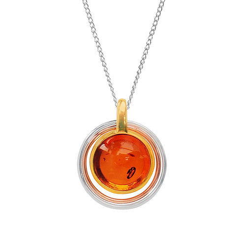 Sterling Silver Round Amber Goldplated Pendant
