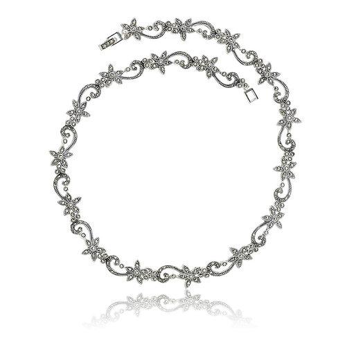 Silver Marcasite Flower Collar