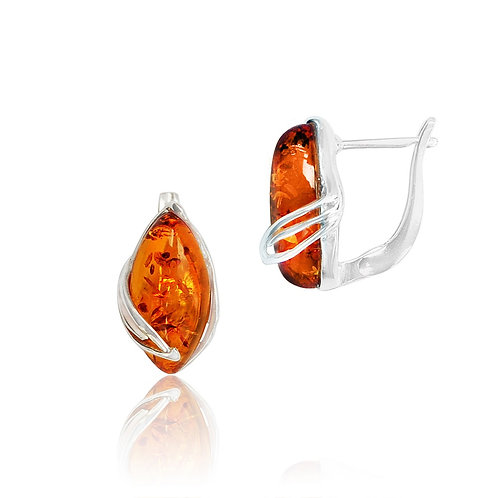 Sterling Silver Marquise Amber Stud Earrings