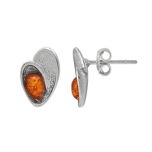Sterling Silver Shell Shaped Amber Stud Earrings