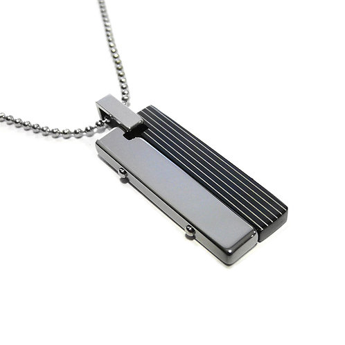 Stainless Steel Half Black Stripped PVD Pendant