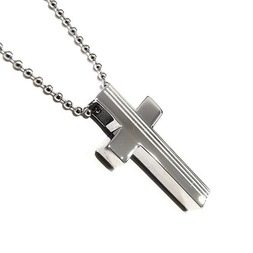 Stainless Steel Stripe Cross Pendant