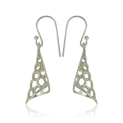 Sterling Silver Hexagonal Cone Drop Earrings