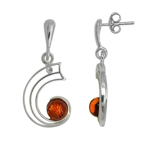 Sterling Silver Round Amber Stone Curved Drop Earrings