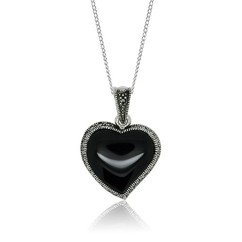 Silver Marcasite and Black Agate heart Pendant