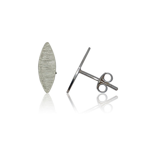 Handmade Designer Sterling Silver Brushed Marquise Stud Earrings