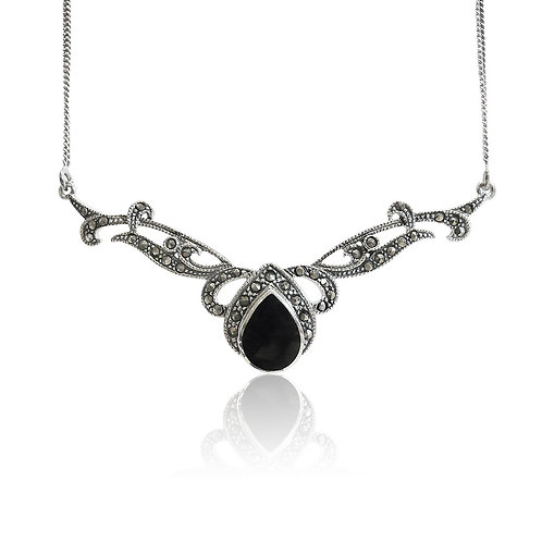 Silver Marcasite and Black Onyx Teardrop Collar