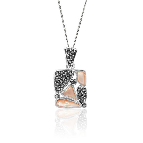 Silver Marcasite and pink shell Pendant