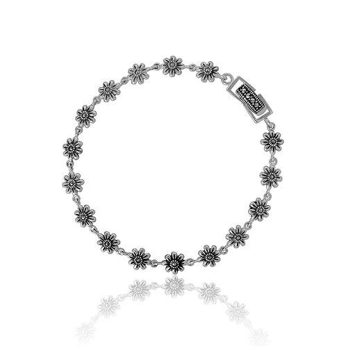 Silver and Marcasite Flower Bracelet