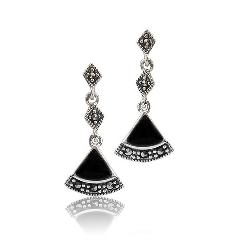 Silver Marcasite and Black Agate fan drop Earrings