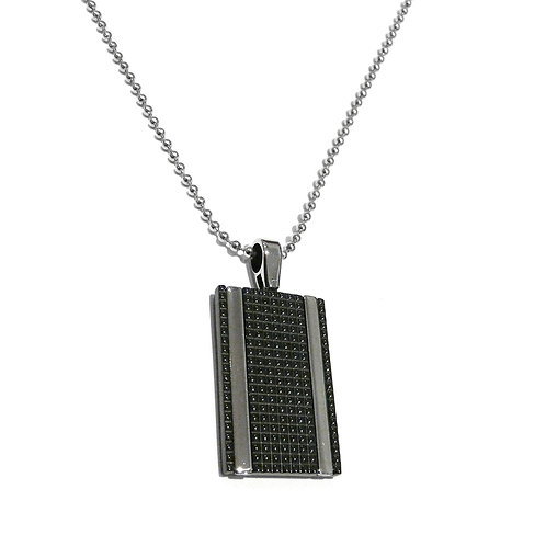 Stainless Steel Black Engraved Pendant