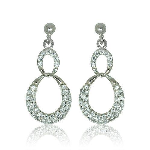 Sterling Silver Hoop CZ Drop Earring