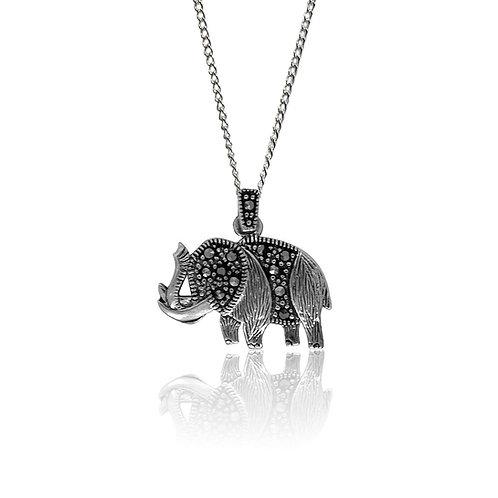 Silver Marcasite Elephant Pendant