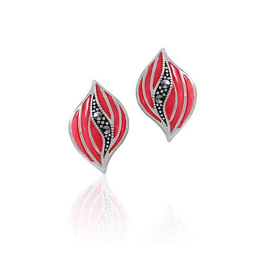 Silver Marcasite and pink enamel stud Earrings