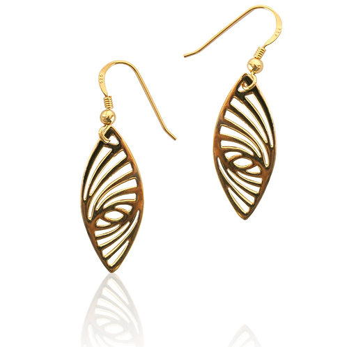 Silver Goldplated Geometric Design Marquise Drop Earrings