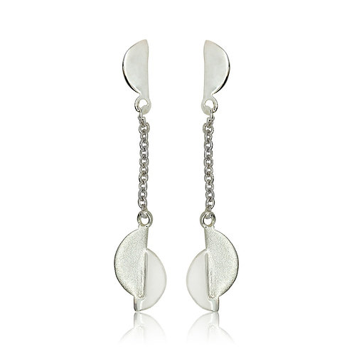 Sterling Silver Split Oval Drop Earrings