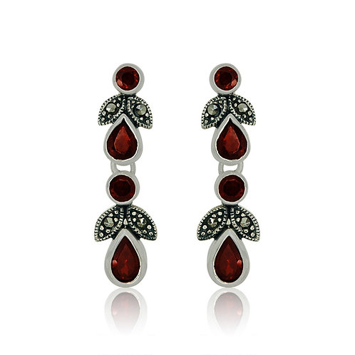 Silver Marcasite and Garnet Earrings