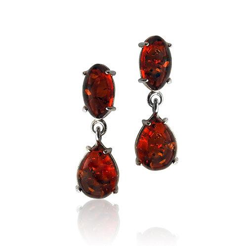 Sterling Silver Oval and Teardrop Amber Drop Earrings