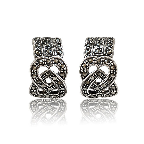 Silver Marcasite Clip-on Earrings