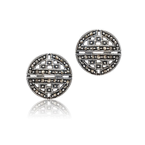 Silver Marcasite round stud Earrings
